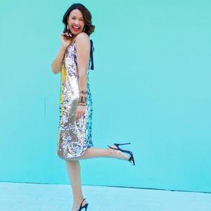 J CREW COLLECTION Tie-Shoulder Sequin Dress